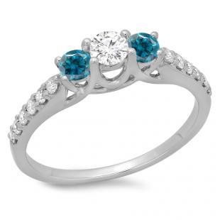 0.75 Carat (ctw) 10K White Gold Round Cut Blue & White Diamond Ladies Bridal 3 Stone Engagement Ring 3/4 CT