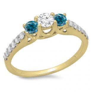0.75 Carat (ctw) 10K Yellow Gold Round Cut Blue & White Diamond Ladies Bridal 3 Stone Engagement Ring 3/4 CT