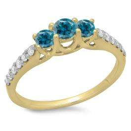 0.75 Carat (ctw) 10K Yellow Gold Round Cut Blue & White Diamond Ladies Bridal 3 Stone Engagement Ring 3/4 CT