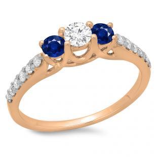 0.75 Carat (ctw) 10K Rose Gold Round Cut Blue Sapphire & White Diamond Ladies Bridal 3 Stone Engagement Ring 3/4 CT