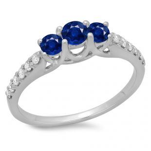 0.75 Carat (ctw) 10K White Gold Round Cut Blue Sapphire & White Diamond Ladies Bridal 3 Stone Engagement Ring 3/4 CT