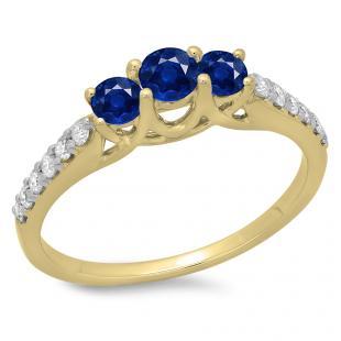 0.75 Carat (ctw) 10K Yellow Gold Round Cut Blue Sapphire & White Diamond Ladies Bridal 3 Stone Engagement Ring 3/4 CT