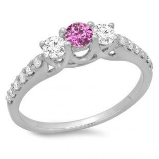 0.75 Carat (ctw) 14K White Gold Round Cut Pink Sapphire & White Diamond Ladies Bridal 3 Stone Engagement Ring 3/4 CT