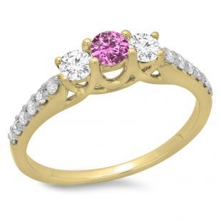 0.75 Carat (ctw) 18K Yellow Gold Round Cut Pink Sapphire & White Diamond Ladies Bridal 3 Stone Engagement Ring 3/4 CT