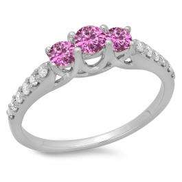 0.75 Carat (ctw) 18K White Gold Round Cut Pink Sapphire & White Diamond Ladies Bridal 3 Stone Engagement Ring 3/4 CT