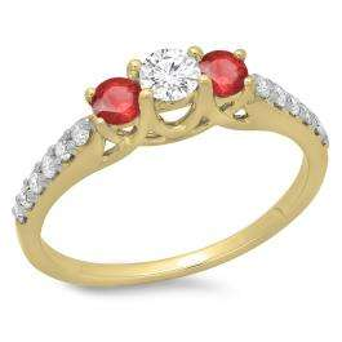 0.75 Carat (ctw) 10K Yellow Gold Round Cut Red Ruby & White Diamond Ladies Bridal 3 Stone Engagement Ring 3/4 CT