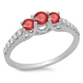 0.75 Carat (ctw) 18K White Gold Round Cut Red Ruby & White Diamond Ladies Bridal 3 Stone Engagement Ring 3/4 CT