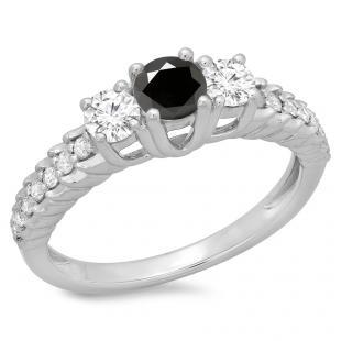 1.00 Carat (ctw) 14K White Gold Round Cut Black & White Diamond Ladies Bridal 3 Stone Engagement Ring 1 CT
