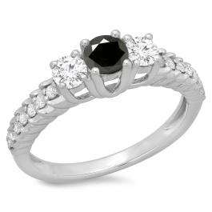 1.00 Carat (ctw) 18K White Gold Round Cut Black & White Diamond Ladies Bridal 3 Stone Engagement Ring 1 CT