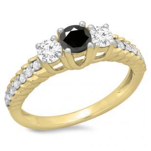 1.00 Carat (ctw) 18K Yellow Gold Round Cut Black & White Diamond Ladies Bridal 3 Stone Engagement Ring 1 CT