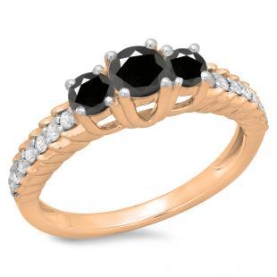 1.00 Carat (ctw) 10K Rose Gold Round Cut Black & White Diamond Ladies Bridal 3 Stone Engagement Ring 1 CT