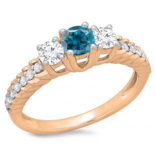 1.00 Carat (ctw) 10K Rose Gold Round Cut Blue & White Diamond Ladies Bridal 3 Stone Engagement Ring 1 CT