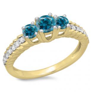 1.00 Carat (ctw) 14K Yellow Gold Round Cut Blue & White Diamond Ladies Bridal 3 Stone Engagement Ring 1 CT
