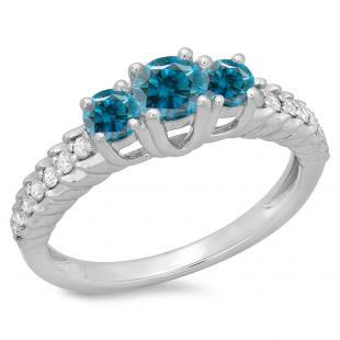 1.00 Carat (ctw) 18K White Gold Round Cut Blue & White Diamond Ladies Bridal 3 Stone Engagement Ring 1 CT