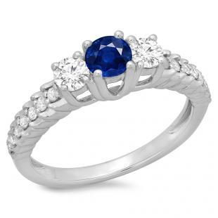 1.00 Carat (ctw) 18K White Gold Round Cut Blue Sapphire & White Diamond Ladies Bridal 3 Stone Engagement Ring 1 CT