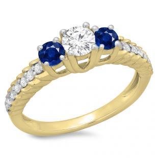 1.00 Carat (ctw) 10K Yellow Gold Round Cut Blue Sapphire & White Diamond Ladies Bridal 3 Stone Engagement Ring 1 CT
