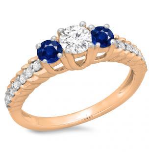 1.00 Carat (ctw) 14K Rose Gold Round Cut Blue Sapphire & White Diamond Ladies Bridal 3 Stone Engagement Ring 1 CT