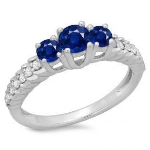 1.00 Carat (ctw) 10K White Gold Round Cut Blue Sapphire & White Diamond Ladies Bridal 3 Stone Engagement Ring 1 CT