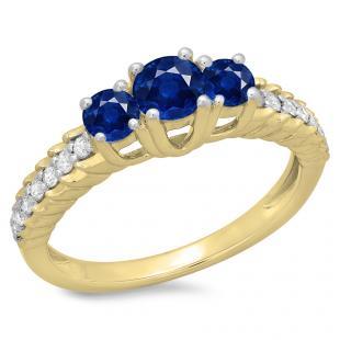 1.00 Carat (ctw) 14K Yellow Gold Round Cut Blue Sapphire & White Diamond Ladies Bridal 3 Stone Engagement Ring 1 CT
