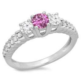 1.00 Carat (ctw) 10K White Gold Round Cut Pink Sapphire & White Diamond Ladies Bridal 3 Stone Engagement Ring 1 CT