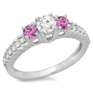 1.00 Carat (ctw) 10K White Gold Round Cut Pink Sapphire & White Diamond Ladies Bridal 3 Stone Engagement Ring 1 CT