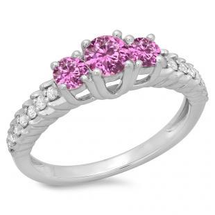 1.00 Carat (ctw) 14K White Gold Round Cut Pink Sapphire & White Diamond Ladies Bridal 3 Stone Engagement Ring 1 CT