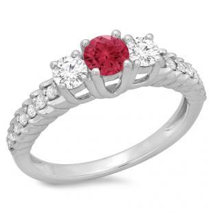 1.00 Carat (ctw) 10K White Gold Round Cut Red Ruby & White Diamond Ladies Bridal 3 Stone Engagement Ring 1 CT