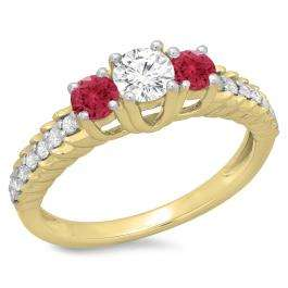 1.00 Carat (ctw) 14K Yellow Gold Round Cut Red Ruby & White Diamond Ladies Bridal 3 Stone Engagement Ring 1 CT