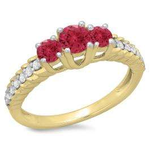 1.00 Carat (ctw) 10K Yellow Gold Round Cut Red Ruby & White Diamond Ladies Bridal 3 Stone Engagement Ring 1 CT