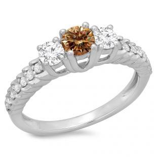 1.00 Carat (ctw) 10K White Gold Round Cut Champagne & White Diamond Ladies Bridal 3 Stone Engagement Ring 1 CT