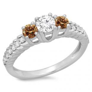 1.00 Carat (ctw) 14K White Gold Round Cut Champagne & White Diamond Ladies Bridal 3 Stone Engagement Ring 1 CT
