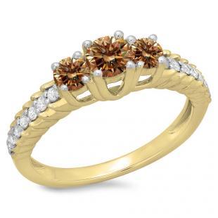 1.00 Carat (ctw) 10K Yellow Gold Round Cut Champagne & White Diamond Ladies Bridal 3 Stone Engagement Ring 1 CT