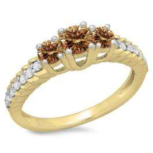 1.00 Carat (ctw) 14K Yellow Gold Round Cut Champagne & White Diamond Ladies Bridal 3 Stone Engagement Ring 1 CT