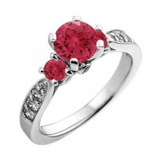 1.00 Carat (ctw) 18K White Gold Round Red Ruby & White Diamond Ladies 3 Stone Bridal Engagement Ring 1 CT