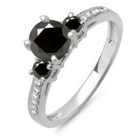 1.33 Carat (ctw) 14K White Gold Round White & Black Diamond Ladies Bridal 3 Stone Engagement Ring