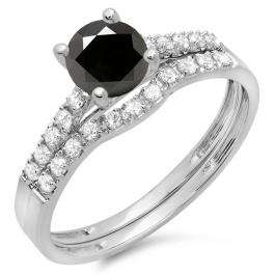 1.25 Carat (ctw) 10K White Gold Round White & Black Diamond Ladies Bridal Engagement Ring Matching Band Wedding Sets 1 1/4 CT