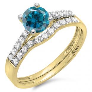 1.25 Carat (ctw) 10K Yellow Gold Round White & Blue Diamond Ladies Bridal Engagement Ring Matching Band Wedding Sets 1 1/4 CT