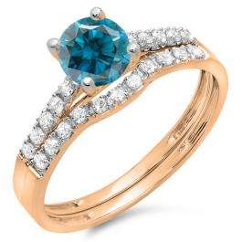 1.25 Carat (ctw) 18K Rose Gold Round White & Blue Diamond Ladies Bridal Engagement Ring Matching Band Wedding Sets 1 1/4 CT