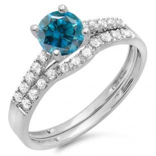 1.25 Carat (ctw) 18K White Gold Round White & Blue Diamond Ladies Bridal Engagement Ring Matching Band Wedding Sets 1 1/4 CT