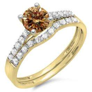 1.25 Carat (ctw) 18K Yellow Gold Round White & Champagne Diamond Ladies Bridal Engagement Ring Matching Band Wedding Sets 1 1/4 CT