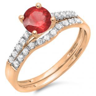 1.25 Carat (ctw) 14K Rose Gold Round White Diamond & Red Ruby Ladies Bridal Engagement Ring Matching Band Wedding Sets 1 1/4 CT