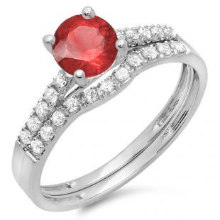 1.25 Carat (ctw) 18K White Gold Round White Diamond & Red Ruby Ladies Bridal Engagement Ring Matching Band Wedding Sets 1 1/4 CT