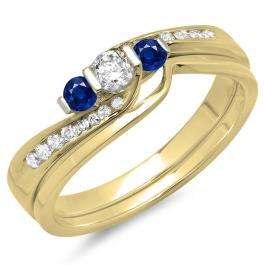 0.45 Carat (ctw) 10K Yellow Gold Round Blue Sapphire & White Diamond Ladies Swirl Bridal 3 Stone Engagement Ring With Matching Band Set 1/2 CT