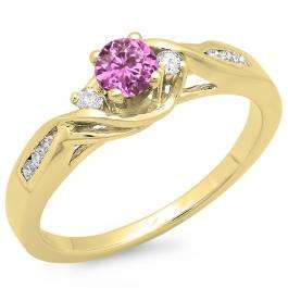 0.50 Carat (ctw) 18K Yellow Gold Round Pink Sapphire & White Diamond Ladies Crossover Swirl 3 Stone Bridal Engagement Ring 1/2 Ct