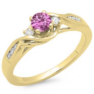 0.50 Carat (ctw) 18K Yellow Gold Round Pink Sapphire & White Diamond Ladies Crossover Swirl 3 Stone Bridal Engagement Ring 1/2 Ct