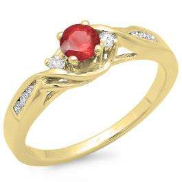 0.50 Carat (ctw) 18K Yellow Gold Round Red Ruby & White Diamond Ladies Crossover Swirl 3 Stone Bridal Engagement Ring 1/2 Ct