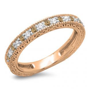 0.33 Carat (ctw) 14K Rose Gold Round Cut Champagne & White Diamonds Ladies Millgrain Anniversary Wedding Stackable Band 1/3 CT