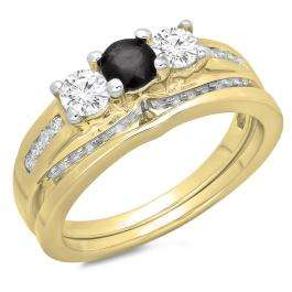 1.10 Carat (ctw) 14K Yellow Gold Round Black & White Diamond Ladies Bridal 3 Stone Engagement Ring With Matching Band Set 1 CT