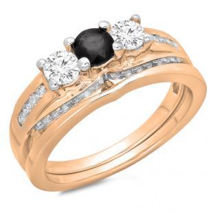 1.10 Carat (ctw) 18K Rose Gold Round Black & White Diamond Ladies Bridal 3 Stone Engagement Ring With Matching Band Set 1 CT