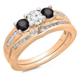 1.10 Carat (ctw) 14K Rose Gold Round Black & White Diamond Ladies Bridal 3 Stone Engagement Ring With Matching Band Set 1 CT